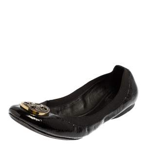 Tory Burch Black Patent Leather Scrunch Flats Size 41