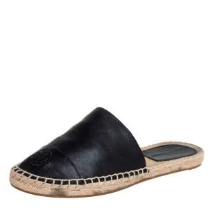 Tory Burch Black Leather Espadrille Sandals Size 37