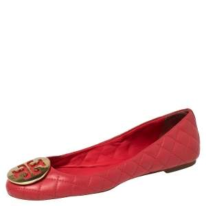 Tory Burch Red Quilted Leather Reva Ballet Flats Size 38.5