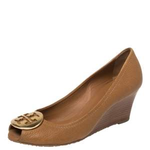 Tory Burch Tan Leather Sally 2 Wedge Pumps Size 37.5