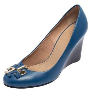 Tory Burch Blue Leather Lowell Wedge Pump Size 39