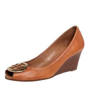 Tory Burch Brown Leather  Wedge Pumps Size 39.5