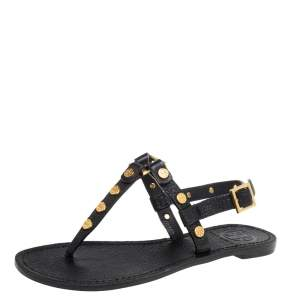 Tory Burch Black Leather Studded Thong Slingback Sandals Size 35.5