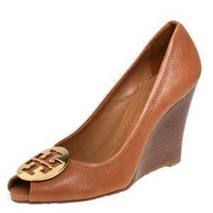 Tory Burch Brown Leather Peep Toe Wedge Pumps Size 38.5