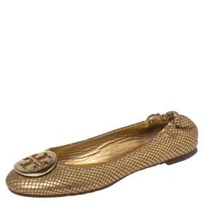 Tory Burch Metallic Gold Snakeskin Effect Leather Minnie Scrunch Ballet Flats Size 37