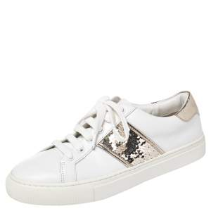 Tory Burch White/Gold Leather And Sequin Carter Sneakers Size 38.5