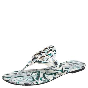 Tory Burch White/Green Floral Print Leather Miller Flat Thong Sandals Size 40