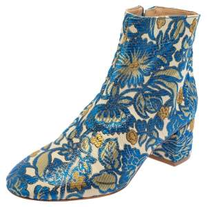 Tory Burch Multicolor Brocade Fabric Block Heel Ankle Boots Size 36