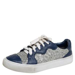Tory Burch Blue/Silver Leather And Glitter Milo Low Top Sneakers Size 36