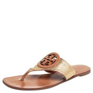 Tory Burch Gold Leather Thong Sandals Size 38.5
