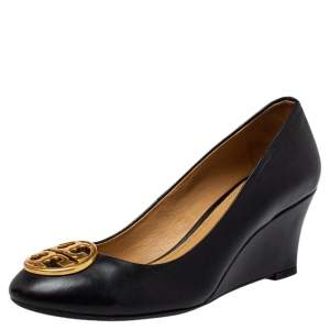 Tory Burch Black Leather Chelsea Wedge Pumps Size 35
