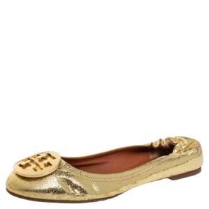 Tory Burch Gold Leather Reva Scrunch Ballet Flats Size 39