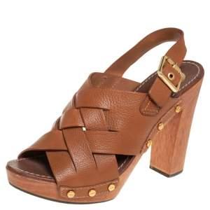 Tory Burch Brown Leather Jodie Platform Sandals Size 40