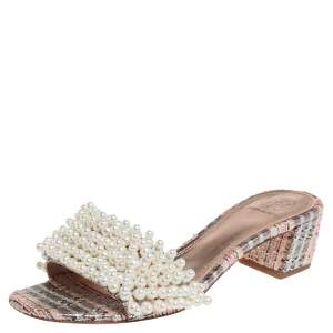 Tory Burch Multicolor Brocade Fabric Pearl Embellished Tatiana Slide Sandals Size 38a
