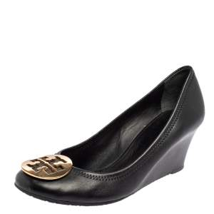 Tory Burch Black Leather Sophie Embellished Wedge Pumps Size 39