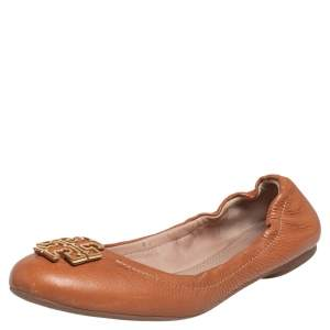 Tory Burch Tan Leather Melinda Ballet Flats Size 38.5