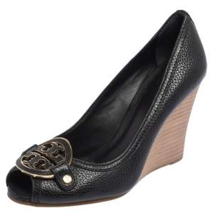 Tory Burch Black Leather Leticia Peep Toe Wedge Pumps Size 37.5