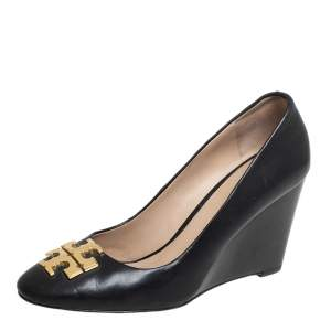 Tory Burch Black Leather  Logo Wedge Size 36
