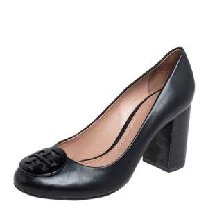 Tory Burch Black Leather Block Heel Pumps Size 36