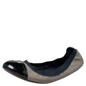 Tory Burch Grey/Blue Leather And Elastic Gabby Scrunch Ballet Flats Size 38.5