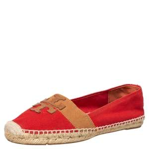 Tory Burch Red Canvas Espadrille Flats Size 38