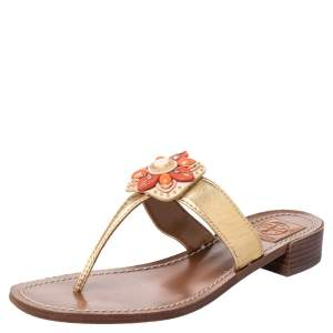 Tory Burch Gold Leather Embellished Thong Sandals Size 40
