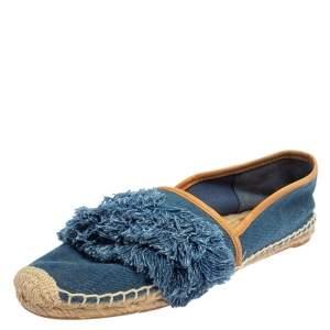Tory Burch Blue Denim Shaw Espadrille Flats Size 40.5