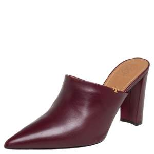 Tory Burch Burgundy Leather Penelope Mule Sandals Size 39.5
