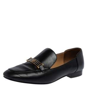 Tory Burch Black Leather Amelia Loafers Size 39