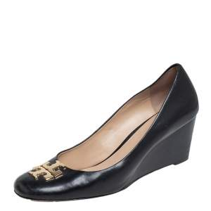 Tory Burch Black Leather Raleigh Round Toe Wedge Pumps Size 40.5