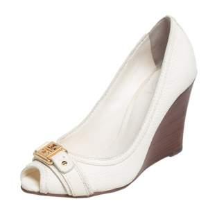 Tory Burch Cream Leather Peep Toe Wedge Pumps Size 38