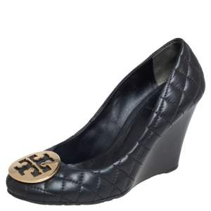 Tory Burch Black Quilted Leather Reva Wedge Pumps Size 38.5