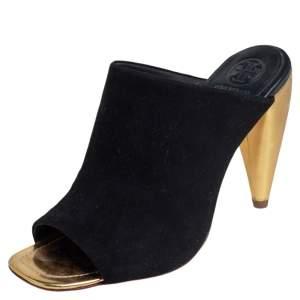 Tory Burch Black Suede Open Toe Mule Sandals Size 36