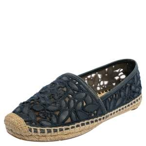 Tory Burch Navy Blue Lace And Leather Jackie Espadrille Flats Size 36