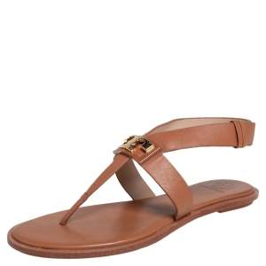 Tory Burch Brown Leather Thong Sandals Size 36.5