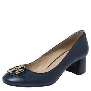 Tory Burch Navy Blue Leather Block Heel Pumps Size 37.5