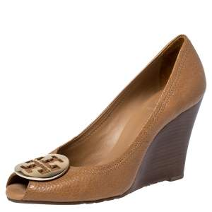 Tory Burch Tan Leather Sally Wedge Pumps Size 38.5