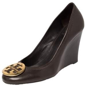 Tory Burch Brown Leather Sophie Wedge Pumps Size 39