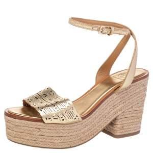 Tory Burch Gold Laser Cut Leather Roselle Espadrille Platform Sandals Size 38