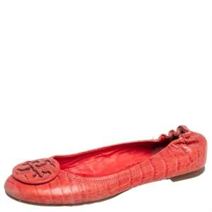 Tory Burch Orange Croc Embossed Leather Minnie Travel Ballet Flats Size 36