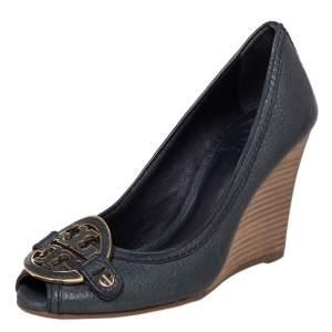 Tory Burch Green Leather Amanda Peep Toe Wedge Pumps Size 36