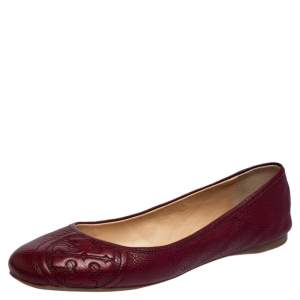 Tory Burch Burgundy Leather Ballet Flats Size 40