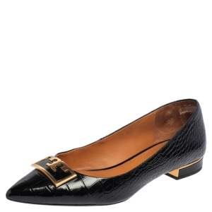 Tory Burch Black Croc Embossed Leather Pointed Toe Flats Size 38.5