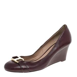 Tory Burch Burgundy Leather Wedge Pumps Size 40.5