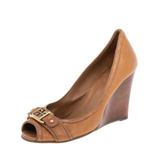 Tory Burch Brown Leather Peep Toe Wedge Pumps Size 37.5