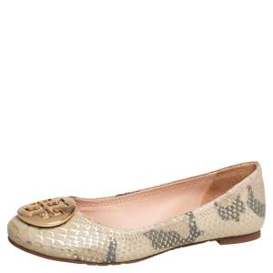 Tory Burch Gold/Beige Python Embossed Leather Reva Ballet Flats Size 36.5