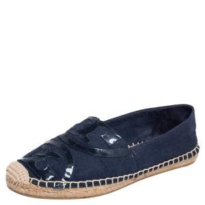Tory Burch Blue Canvas and Patent Leather Espadrille Flats Size 38