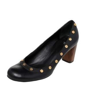 Tory Burch Black Leather Reva Logo Studded Wooden Block Heels Pumps Size 40