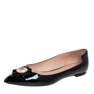 Tory Burch Black Patent Leather Melody Pearl Ballet Flats Size 37.5