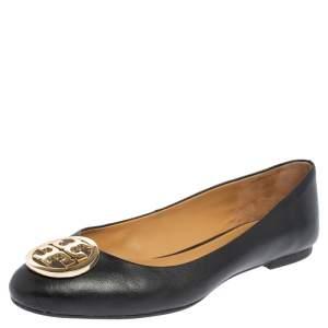 Tory Burch Black Leather Reva Ballet Flats Size 37.5